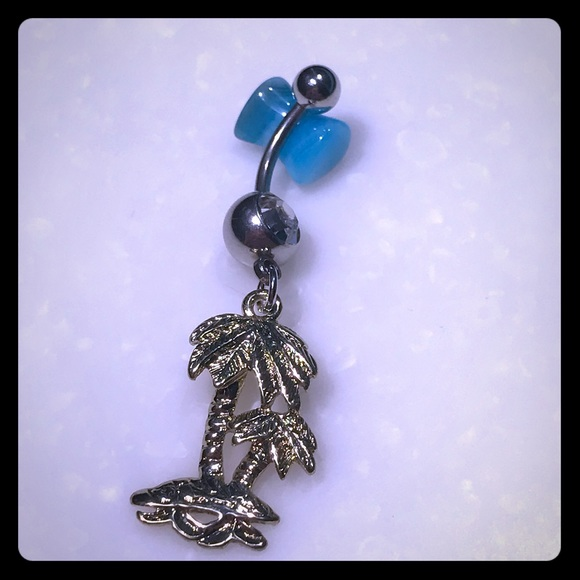 Palm Tree Belly Button Ring W Gold Plated Dangle Boutique